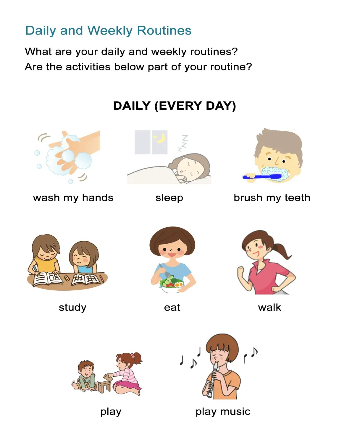 Preschool Daily Routine Worksheet