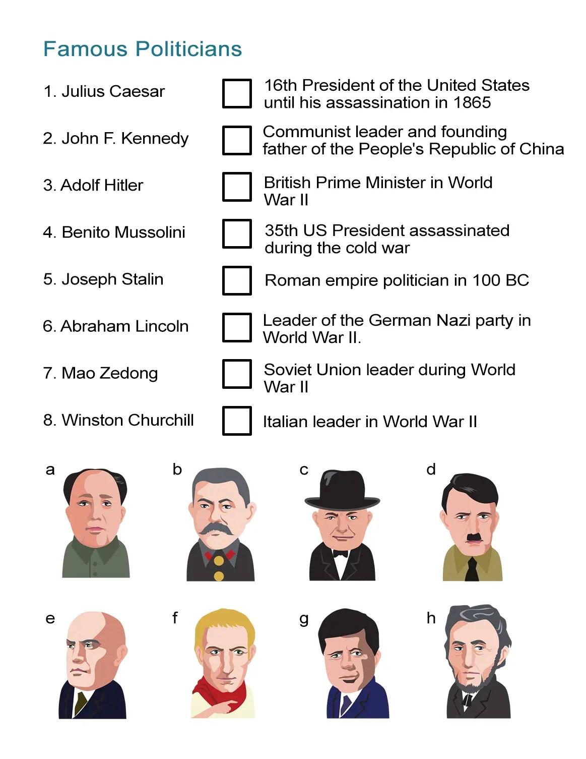 Famous Politicians Worksheet Let S Talk Politics