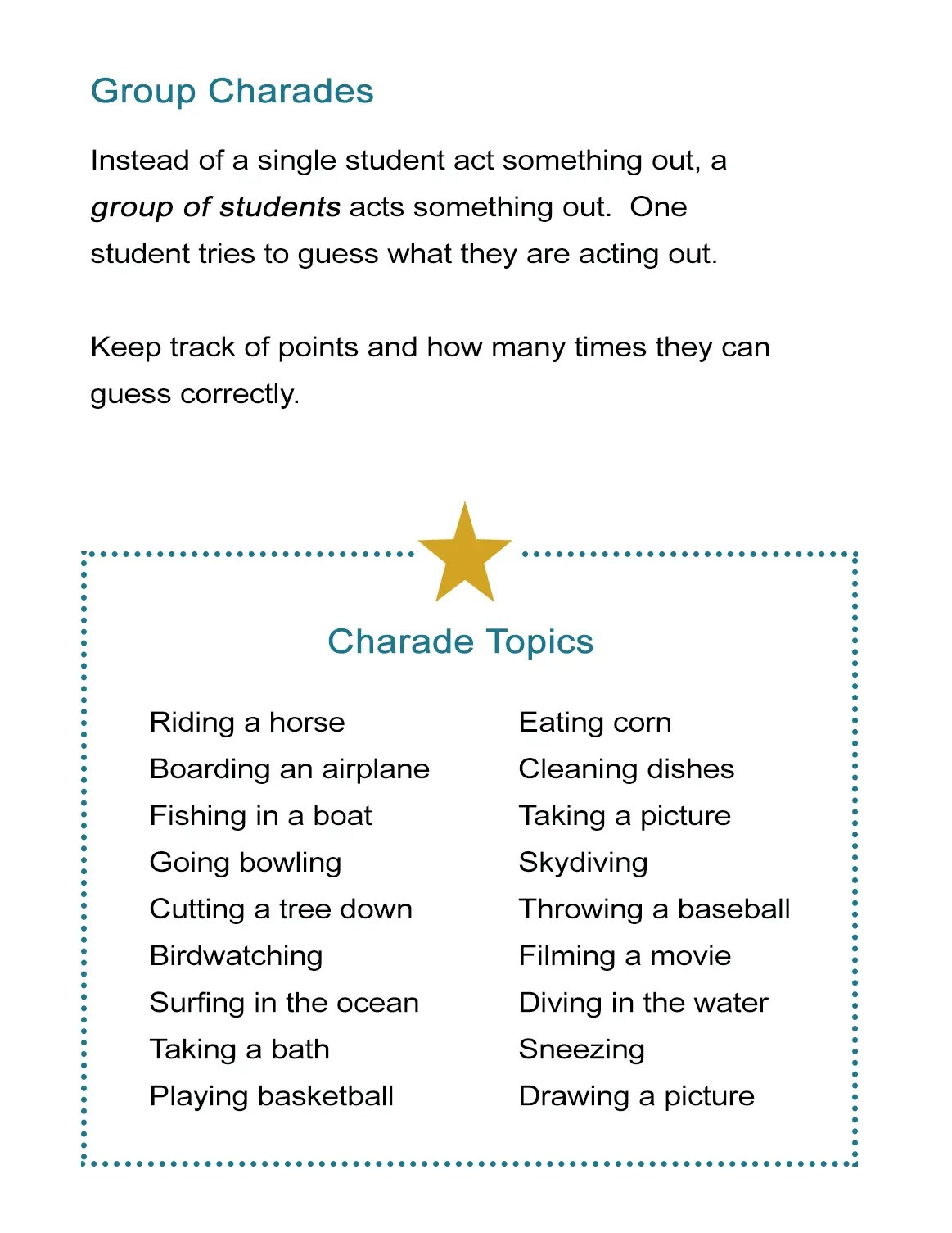 Group Charades Ideas Worksheet
