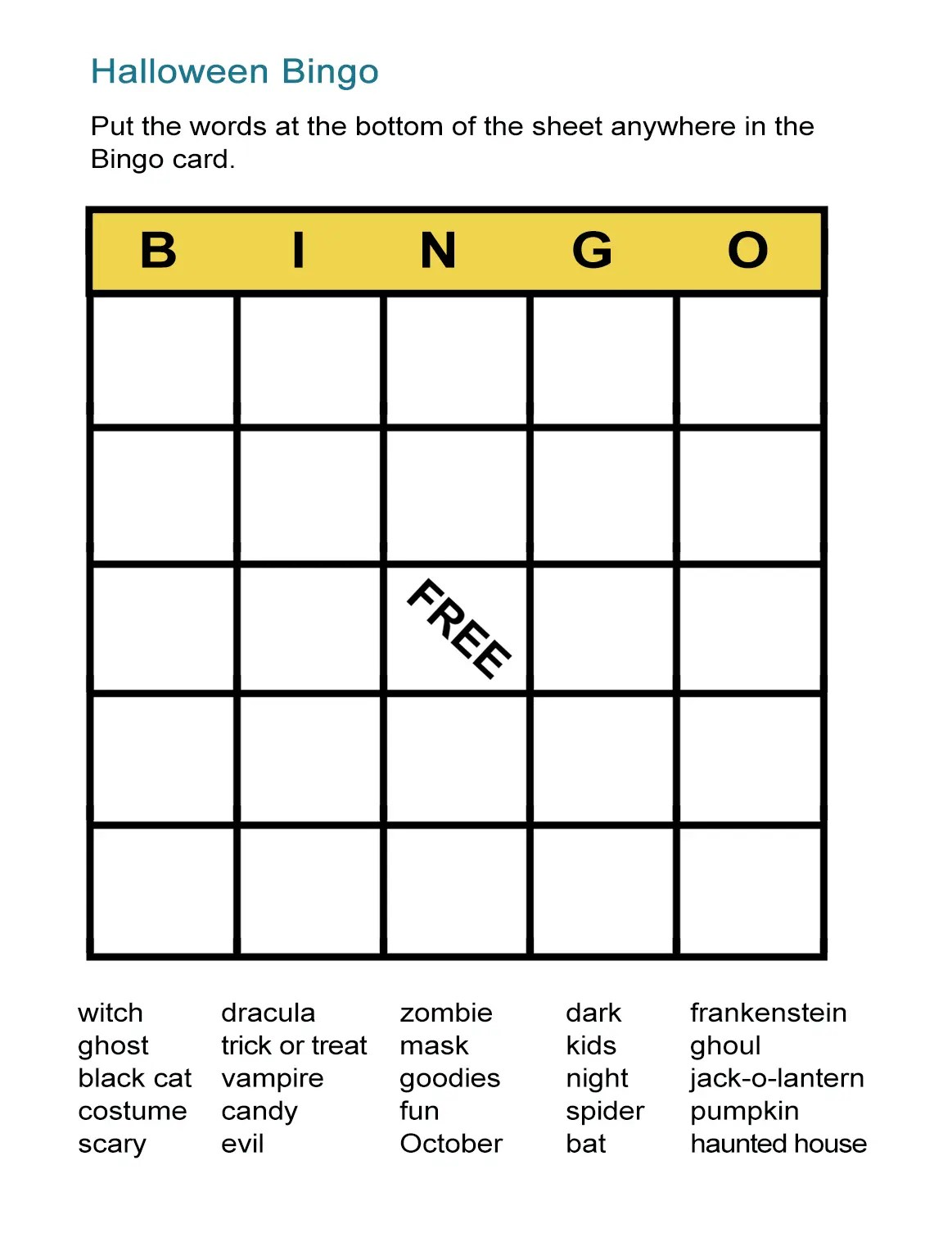 Halloween Printable Bingo Cards