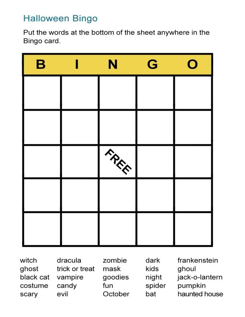Halloween Bingo Cards With Words Newchristmas