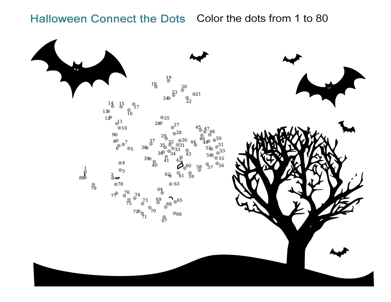 Halloween Connect The Dots Worksheet Easy Printable From