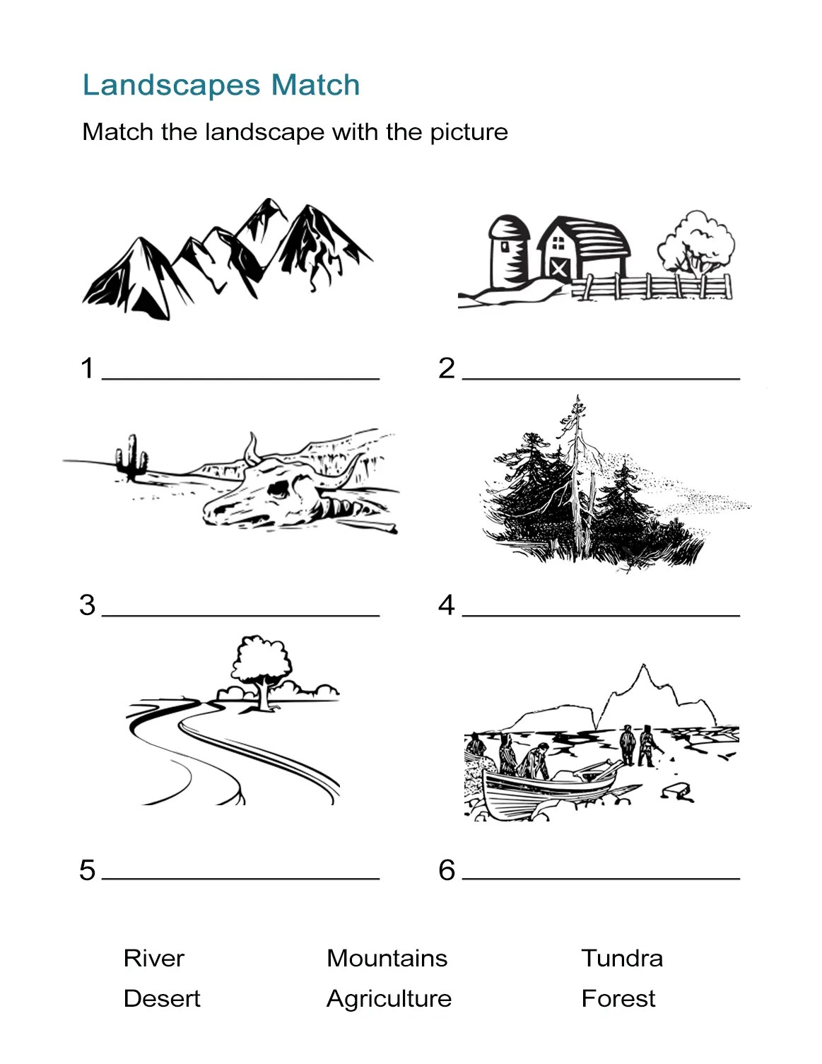 Ecosystems Worksheet Landscape Matching Quiz