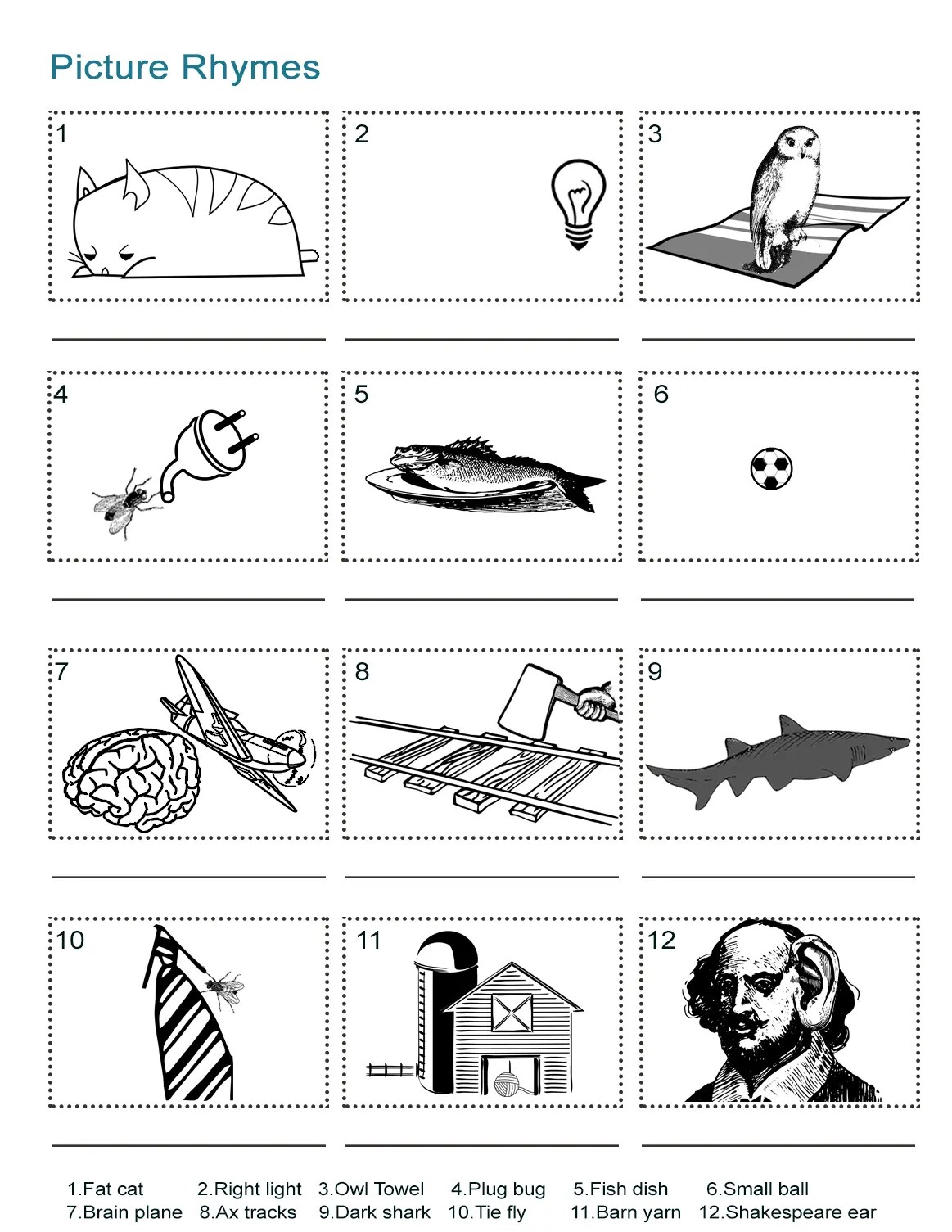 Picture Rhymes Worksheet What Is The Rhyming Word In Each Picture