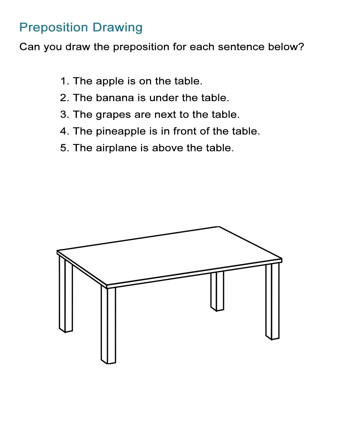 Preposition Game Draw The Prepositions Of Position