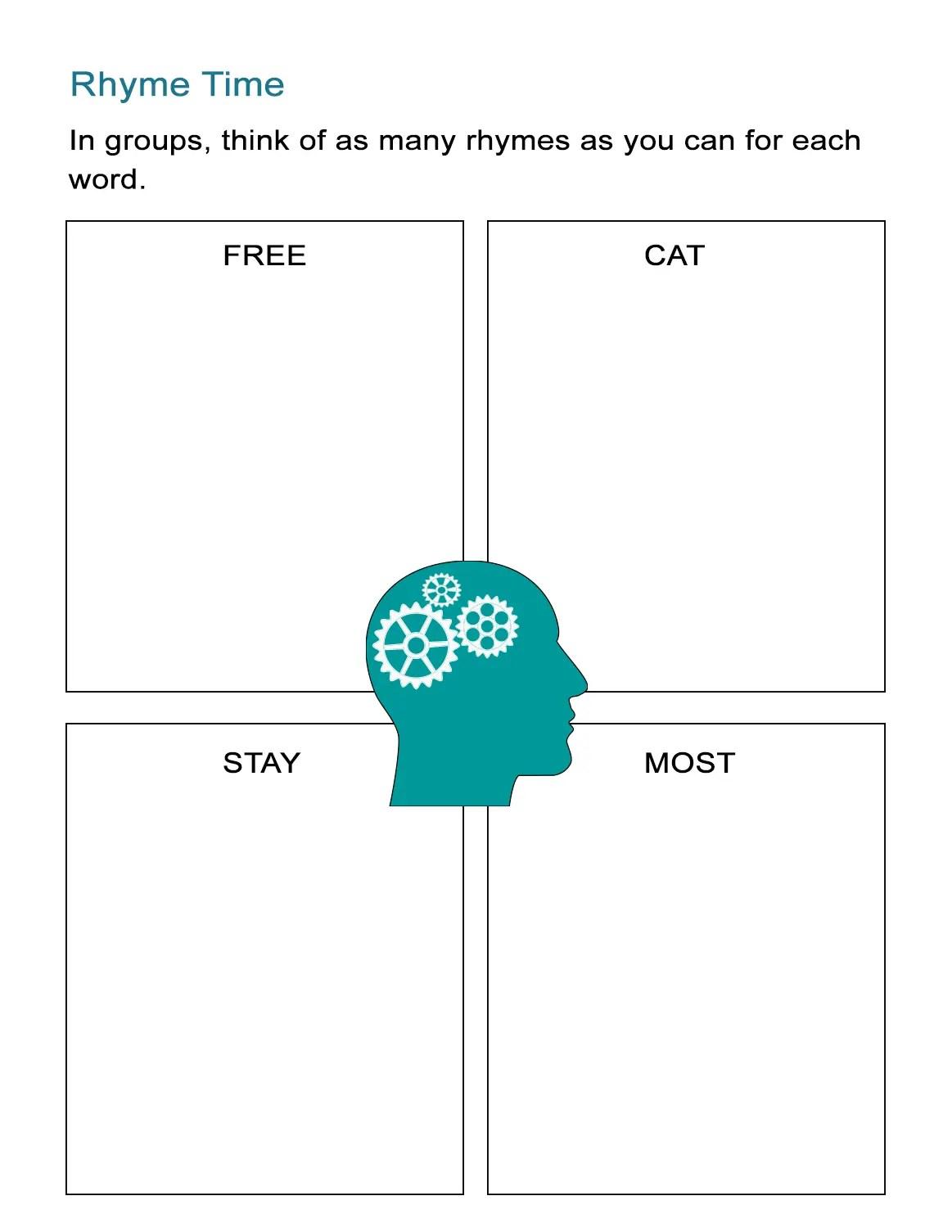 Rhyme Time Activity Sheet Rhymes List Brainstorming