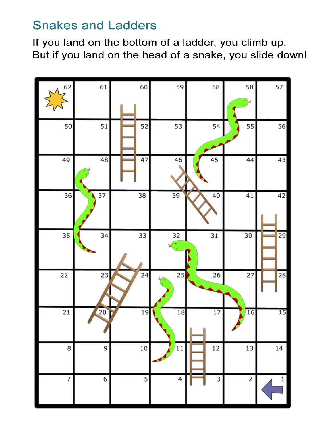 Snakes And Ladders Board Game Free And Printable