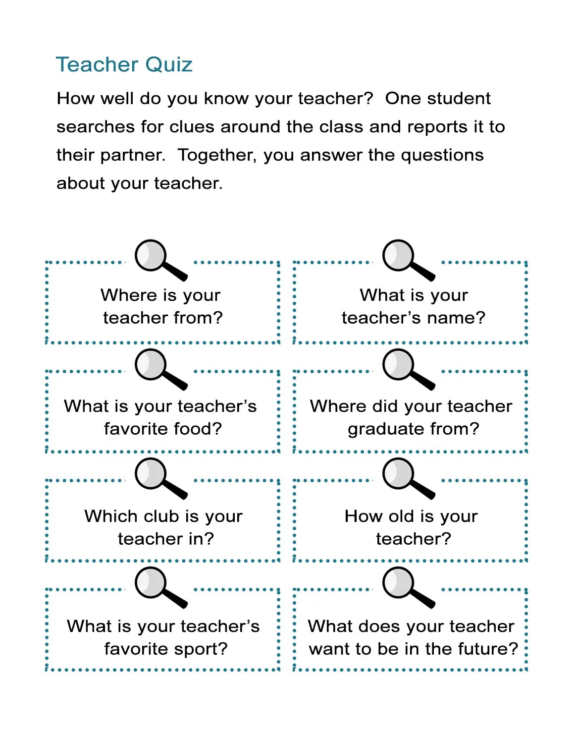 Teacher Quiz How Well Do You Know Your Teacher