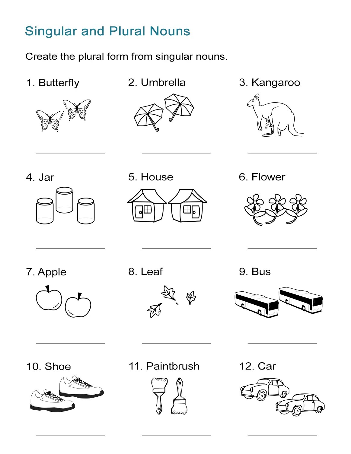 Printables Of Singular And Plural Activities