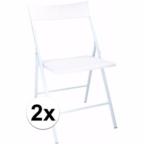 Witte klapstoelen 78 cm 2 stuks