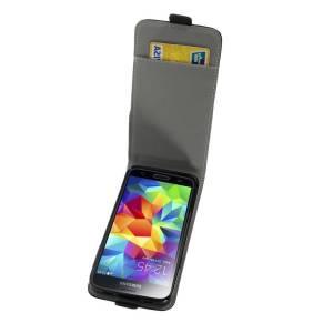 Zwart kunst Lederen pinpas Samsung Galaxy S5 Flipcase