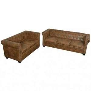 Bankstel Chesterfield-stijl 2-zits en 3-zits bruin
