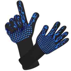 1 paar draagbare siliconen antislip weerstand op hoge temperatuur koken bakken barbecue handschoenen (blauwe fakkel)