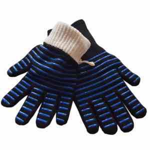 1 paar draagbare siliconen antislip weerstand op hoge temperatuur koken bakken barbecue handschoenen (blauwe strepen)