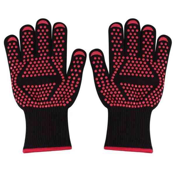 1 paar draagbare siliconen antislip weerstand op hoge temperatuur koken bakken barbecue handschoenen (rode pijl)