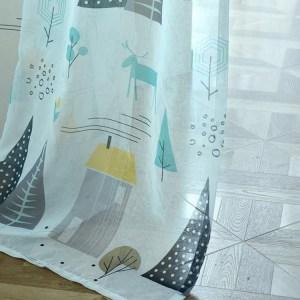 Eenvoudige moderne plant imitatie linnen persoonlijkheid gordijnen woonkamer slaapkamer kinderkamer gordijnen, maat: W1.5 H2.7, model: haaktype (kleine grijze boomtule)