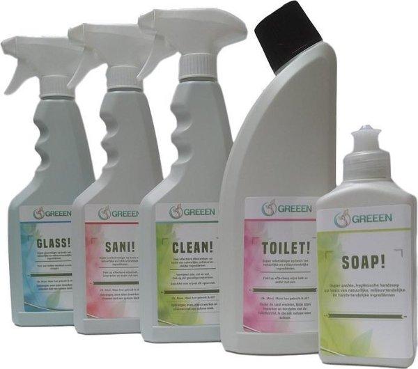 GREEEN TOTAAL! | Biologisch Schoonmaakmiddelen Pakket | Ook geschikt voor Septic Tanks