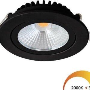 Inbouwspots rond | zwart | 2000K-3000K | Dim to Warm | IP54 | badkamer verlichting