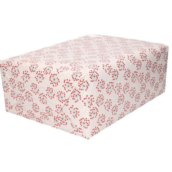 Valentijnsdag cadeaupapier rode hartjes print 200 cm