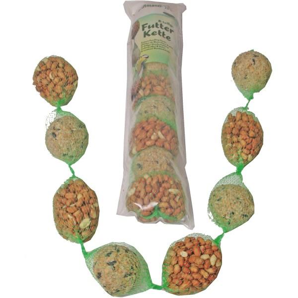 Vogelvoer mixketting met 4 mezenballen en 4 pindanetten