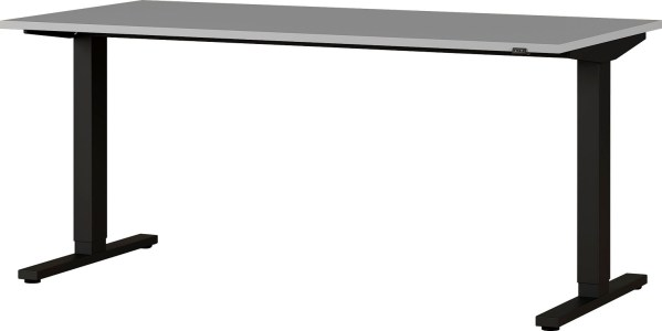 Zit sta bureau Agenda B180xH73-120xD80 cm in lichtgrijs met zwart