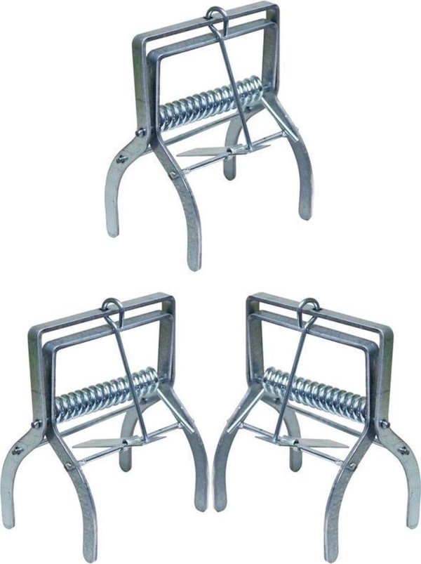3x Mollenvallen/mollenklemmen verzinkt staal 13,5 cm - Tuin benodigdheden - Mollen vangen - Mollenvallen/mollenklemmen