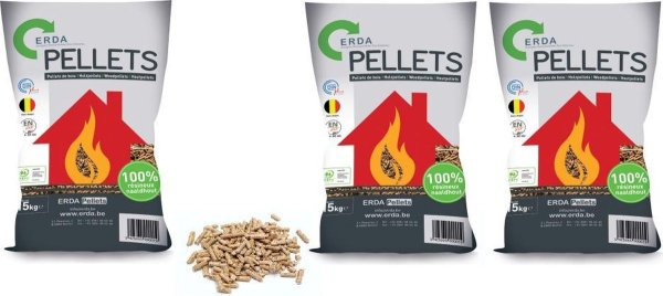 ERDA Houtpellets - Ideaal Voor De Pelletkachel - 100% Naaldhout +A1 - 15Kg x 3 Zakken