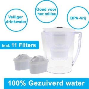 PREMIUM Geschikt voor Waterfilter Kan BRITA MAXTRA - 2,3L Inclusief 11 Stuks Water filter patronen voor 11 Maanden Gezuiverd Water -Waterontharding -Waterontkalker -Waterzuivering Brita filterpatronen BPA-Vrij