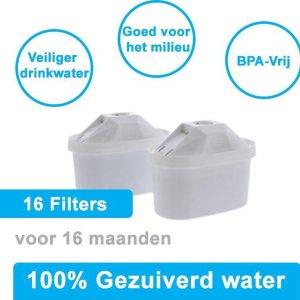 PREMIUM voor BRITA MAXTRA Waterfilter 16 Stuks Water filter patronen voor 16 Maanden Gezuiverd Water -Waterontharding -Waterontkalker -Waterzuivering Brita filterpatronen BPA-Vrij