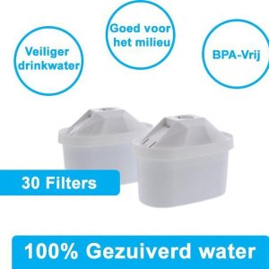 PREMIUM voor BRITA MAXTRA Waterfilter 30 Stuks Water filter patronen voor 30 Maanden Gezuiverd Water -Waterontharding -Waterontkalker -Waterzuivering Brita filterpatronen BPA-Vrij