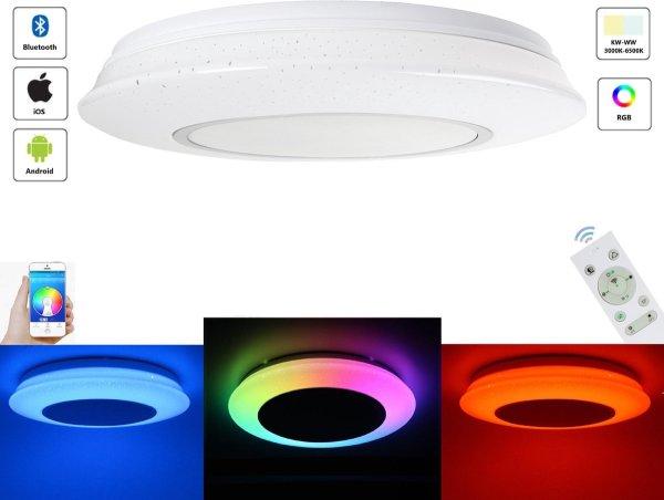 Varin® LED Plafondlamp met Bluetooth Speaker - Premium 36W Led Lamp - Ø 40cm Plafoniere - 4300 Lumen - Wit en RGB - Smart Lamp - Dimbare Plafonnière - Ceiling Light - Ledlamp - Slaapkamer en Badkamer verlichting - Woonkamer lamp - Keukenlamp