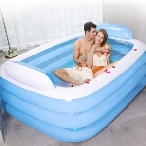 Opblaasbaar zwembad Blow Up familiezwembad, verdikt opblaasbaar zwembad, zomerwaterfeest, 3-ring opblaasbaar zwembad voor gezinskinderen, baby's en buiten, veel plezier