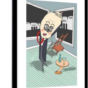 Poster met lijst Animatie - Animatie van een man in wanhoop - fotolijst zwart - 60x90 cm - Poster met lijst