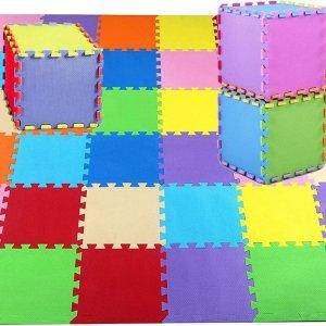 SWILIX ® Multicolor Speelmat Puzzelmat XL - 40 - delig Puzzel van Schuim Vloer Tegels - 240 x 150 cm - 3.6 m² - Zacht en Dik EVA Foam - Antislip en Waterafstotend Speelkleed