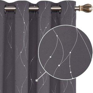 Verduisterende Bedrukte Gordijnen met Oogjes Warmte-isolerend Ondoorzichtig Set van 2 in Polyester voor Woonkamer Lichtgrijs 117x138cm