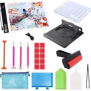 Happy Painter® Diamond Painting Accesoires Super Deluxe Set - met A4 LED Lightpad, sorteerdoos compleet pakket