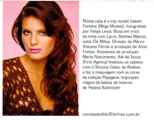 """Isabelli Fontana Viste Chaqueta Allethea Mattos en Portada- de Revista """"Desfile"""""""