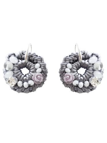 Pendientes circle bordado con cristales de cuarzo y swarovski.