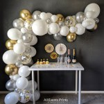 Silver Gold And White Balloon Garland Diy Kit 5 Ft To 25 Ft Includes Everything That You Will Need For Assembly All Events Prints Party Decor