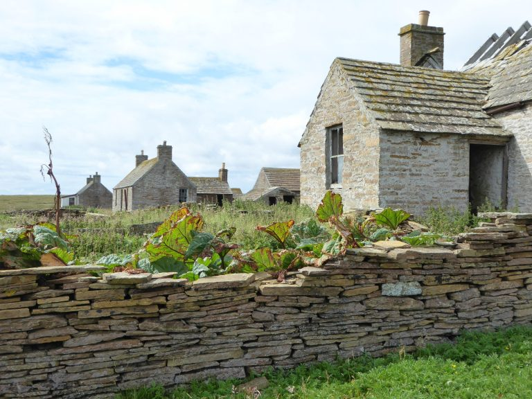 Row of abandoned houses on Stroma