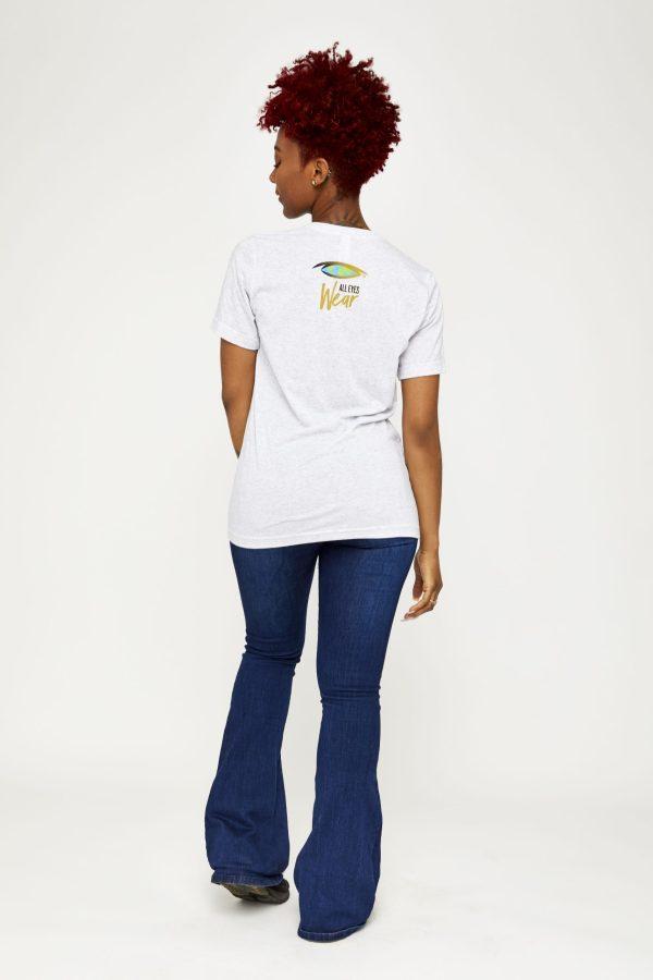 Female model in white back of shirt