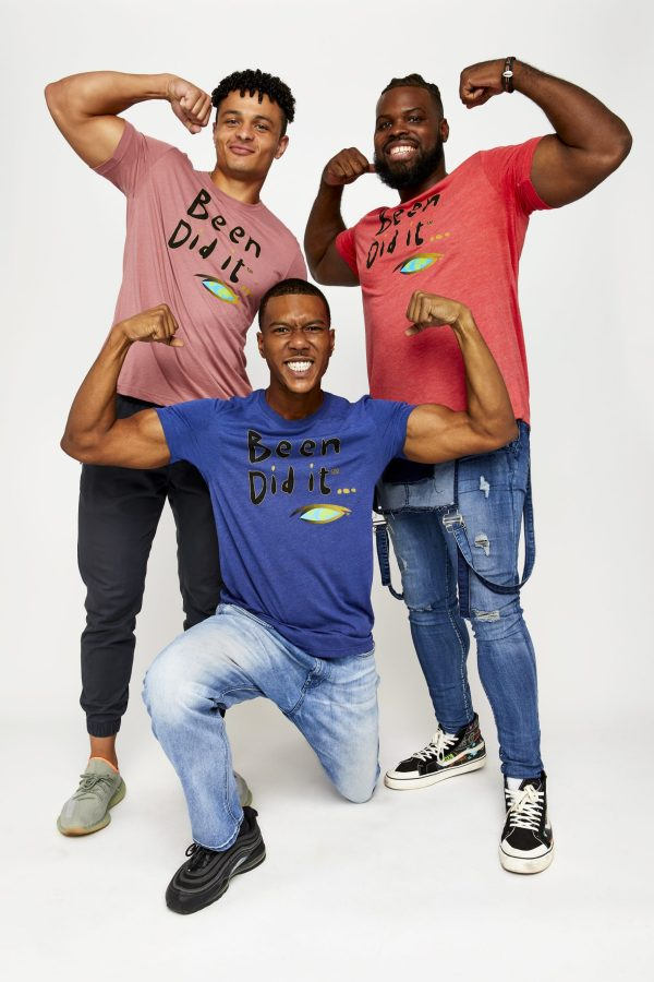 Male models in blue, pink and red shirts