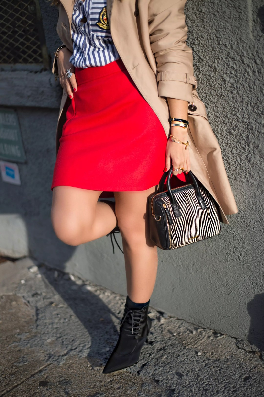 j-crew-a-line-red-skirt-socks-booties-trech-coat-stripe-shirts-street-style-alley-girl-6