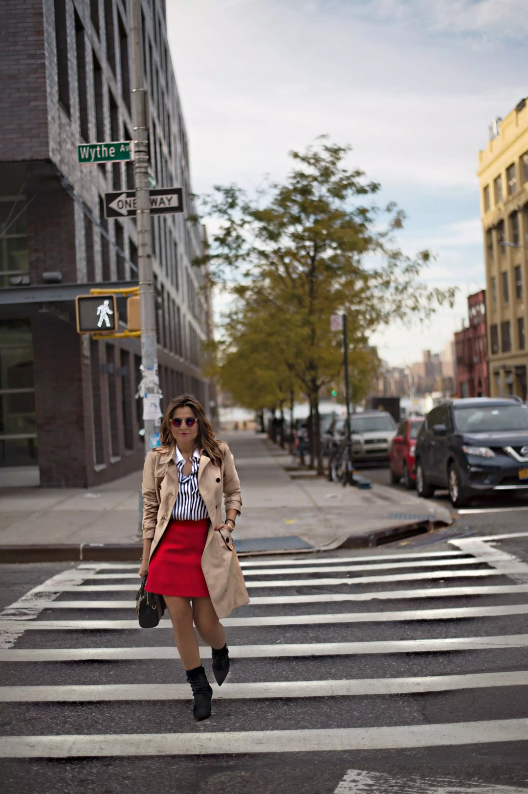 j-crew-a-line-red-skirt-socks-booties-trech-coat-stripe-shirts-street-style-alley-girl