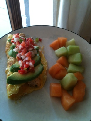 Quickie: Chicken Avocado Omelette, or:
