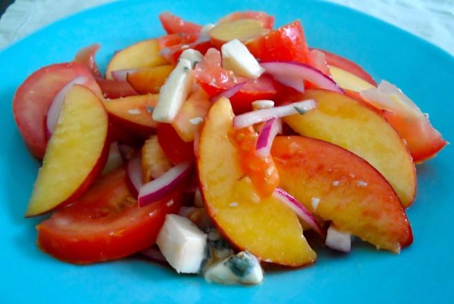 Tomato & Peach Salad with Gorgonzola