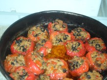 in Vietri: stuffed peppers with fresh anchovies & olives. we ate outside on a patio that was really part of the road.
