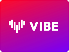 Naver VIBE logo with a gradient orange, pink, and purple background