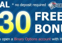 30$ Free NO Deposit Binary Bonus
