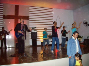 Worship team at church across the river